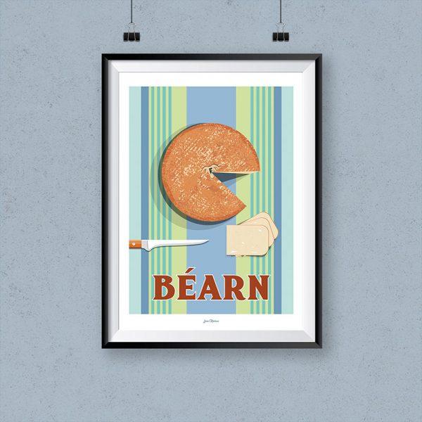 l'affiche Bearn par Jean Navarre est un classique des intérieurs du Pays Basque - imprimé dans le 64, les affiches sont la fierté des Chauvins, boutique concept à Pau
