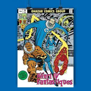 les affiches de super héros de Rodolphe Ohazar Lupano sont l'un des trésors du concept store Les Chauvins à Pau