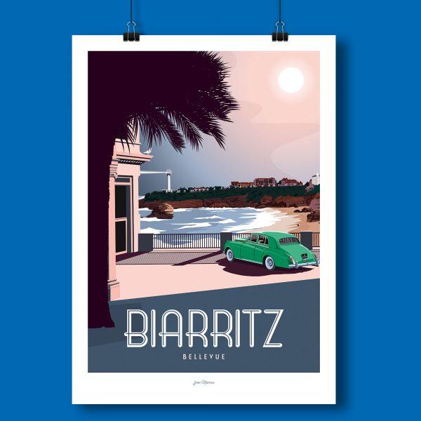 l'affiche Biarritz par Jean Navarre est un classique des intérieurs du Pays Basque - imprimé dans le 64, les affiches sont la fierté des Chauvins, boutique concept à Pau