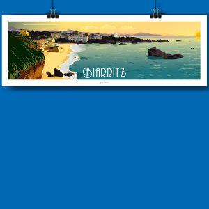 Biarritz en version panoramique, voici la nouvelle affiche de jean navarre pour les chauvins, boutique concept à Pau