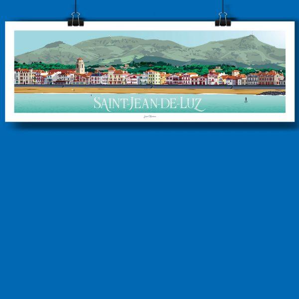 Saint Jean de Luz en version panoramique, voici la nouvelle affiche de jean navarre pour les chauvins, boutique concept à Pau