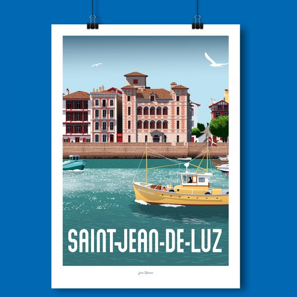 l'affiche St Jean de luz par Jean Navarre est un classique des intérieurs du Pays Basque - imprimé dans le 64, les affiches sont la fierté des Chauvins, boutique concept à Pau