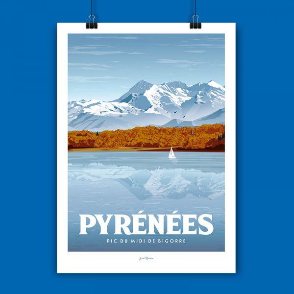 l'affiche Pyrénées par Jean Navarre est un classique des intérieurs du Pays Basque - imprimé dans le 64, les affiches sont la fierté des Chauvins, boutique concept à Pau