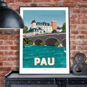 l'affiche Pau et le château de Pau notamment par Jean Navarre est un classique des intérieurs du Pays Basque - imprimé dans le 64, les affiches sont la fierté des Chauvins, boutique concept à Pau