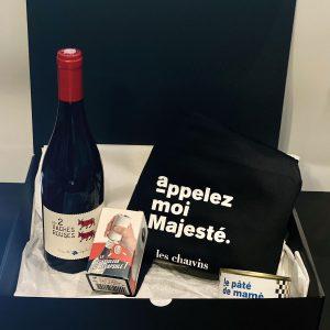 coffret cadeau original par les chauvins avec du bon vin et des créations maison, abandonnez les fleurs et choisissez nos coffrets