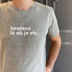 tee shirt les chauvins avec message :) heureux la ou je vis